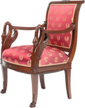Furniture , AN EMPIRE-STYLE UPHOLSTERED MAHOGANY AND GILT BRONZE FAUTEUIL, late 19th century. 36-1/2 x 23-1/2 x 21 inches (92.7 x 59.7 x...