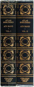 Books:Literature 1900-up, Ayn Rand. Atlas Shrugged. Garden City: InternationalCollectors Library, [1957]. Two volumes. Publisher's full leath...(Total: 2 Items)
