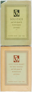 Books:Literature 1900-up, Robinson Jeffers. Give Your Heart to the Hawks. Firstedition. [and:] Solstice. First edition. New York: Random ...(Total: 2 Items)