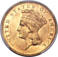 Three Dollar Gold Pieces, 1877 $3 -- Altered Surfaces -- PCGS Genuine. AU Details. ...