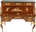 Paintings, AN EMPIRE-STYLE MAHOGANY AND GILT BRONZE MOUNTED BUREAU À CYLINDRE, circa 1890. 50 x 56 x 28 inches (127 x 142.2 x 71.1 cm)...