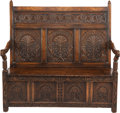 Paintings, AN ENGLISH GOTHIC-STYLE OAK SETTEE, 18th century. 50-1/2 x 56 x 28 inches (128.3 x 142.2 x 71.1 cm). WEIDER HEALTH AND FIT...