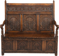 AN ENGLISH GOTHIC-STYLE OAK SETTEE, 18th century 50-1/2 x 56 x 28 inches (128.3 x 142.2 x 71.1 cm)  WEIDER H