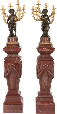 A PAIR OF NAPOLEON III-STYLE GILT AND PATINATED BRONZE FIGURAL SIX-LIGHT CANDELABRUM ON ROUGE MARBLE PEDESTALS, 20th