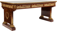 A FRENCH EMPIRE-STYLE MAHOGANY AND GILT BRONZE MOUNTED GENTLEMAN'S DESK, circa 1900 29-3/4 x 64-1/4 x 32 inches (7