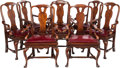 Furniture : English, A SET OF EIGHT GEORGE III-STYLE MAHOGANY AND LEATHER UPHOLSTERED ARMCHAIRS, 20th century. 40-3/4 x 28 x 19 inches (103.5 x 7... (Total: 8 Items)