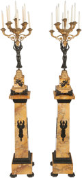 Decorative Arts, French:Lamps & Lighting, A PAIR OF EMPIRE-STYLE PATINATED AND GILT BRONZE SIX-LIGHTCANDELABRA ON MARBLE PEDESTALS, 20th century. 96 x 12 x 12inches... (Total: 4 Items)