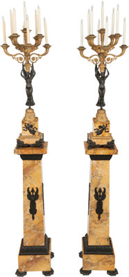 A PAIR OF EMPIRE-STYLE PATINATED AND GILT BRONZE SIX-LIGHT CANDELABRA ON MARBLE PEDESTALS, 20th century 96 x 12 x