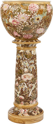 A HUNGARIAN PORCELAIN AND PARCEL GILT ENAMEL JARDINIÈRE AND PEDESTAL, Zsolnay Porcelánmanufaktúra Z...