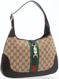 Luxury Accessories:Bags, Gucci Dark Brown Leather & Classic Monogram Canvas Jackie Bagwith Web Stripe Detail. ...
