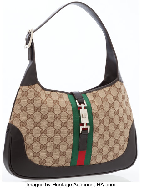 22a055668f165a ... Luxury Accessories:Bags, Gucci Dark Brown Leather & Classic Monogram  Canvas Jackie Bagwith ...