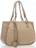 Luxury Accessories:Bags, Christian Dior Dove Gray Leather & Monogram Canvas Tote Bag. ...