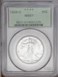 Walking Liberty Half Dollars: , 1939-D 50C MS67 PCGS. An impeccably preserved representative withshimmering, well frosted surfaces and a near-absence of t...
