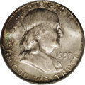 Franklin Half Dollars: , 1957-D 50C MS67 PCGS. Gorgeously toned in forest-green, dove-gray,apricot, and fire-red colors, this lustrous Superb Gem h...