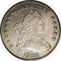 Early Dollars: , 1799 $1 8x5 Stars AU50 PCGS. B-23, BB-159, R.3. This remarkablemispunching differs on the st...
