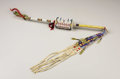 American Indian Art:Beadwork, A SIOUX BEADED HIDE RATTLE. . c. 1890. ...