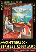 "Movie Posters:Miscellaneous, Switzerland Travel Poster (M.B.O. Railway, c. 1925). Full-BleedPoster (27"" X 39"") "" The Golden Pass Route."". ..."
