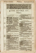 Books:Prints & Leaves, [Bible]. One Hundred and Twenty-Two Leaves from the King JamesBible. London: Robert Barker, 1613. Folio. Contains the Book ...