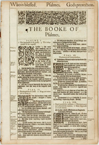[Bible]. One Hundred and Twenty-Two Leaves from the King James Bible. London: Robert Barker, 1613. Folio. Contains th