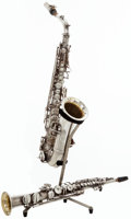 Musical Instruments:Horns & Wind Instruments, 1921 C.G. Conn Silver Soprano Saxophone and C Melody Saxophone, #62541 and #77248....
