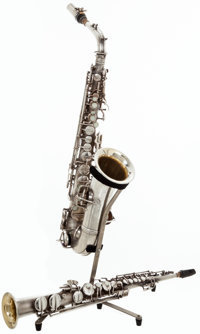 1921 C.G. Conn Silver Soprano Saxophone and C Melody Saxophone, #62541 and #77248