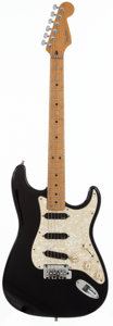 Musical Instruments:Electric Guitars, 1996 Fender Stratocaster Black Solid Body Electric Guitar,#N6139031....