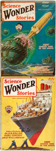 Books:Science Fiction & Fantasy, [Pulps]. Two Issues of Science Wonder Stories. The first and second-ever issues of this pulp magazine, featuring sto... (Total: 2 Items)