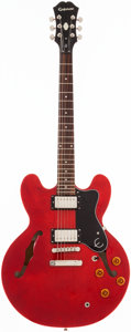Musical Instruments:Electric Guitars, 2000's Epiphone ES-335 DOT Cherry Semi-Hollow Body Electric Guitar,#N/A. ...