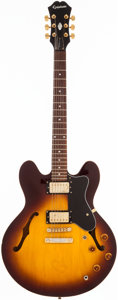 Musical Instruments:Electric Guitars, 2000's Epiphone DOT Deluxe VS Sunburst Semi-Hollow Body ElectricGuitar, # I00010808....