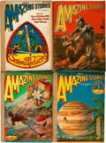 Books:Science Fiction & Fantasy, [Pulps]. Four Issues of Amazing Stories. 1928. Original printed wrappers, rebacked. Toned. Wear and biopredation to ... (Total: 4 Items)