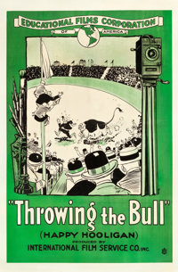 "Throwing the Bull (Educational, 1918). One Sheet (28"" X 42.75""). Animation"