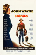 "Movie Posters:Western, Hondo (Warner Brothers, 1953). One Sheet (27"" X 41"") 3-D Style.. ..."