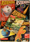 Books:Science Fiction & Fantasy, [Pulps]. Five Issues of Astounding Stories. 1935. Originalprinted wrappers, chipped and tattered. Toned. About very...(Total: 5 Items)
