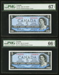 Canadian Currency: , BC-39a $5 1954 Two Examples. ... (Total: 2 notes)