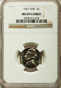 SMS Jefferson Nickels, 1967 5C SMS MS69 Cameo NGC....