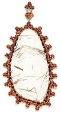 Art Glass:Daum, Rutilated Quartz, Garnet, Diamond, Rose Gold Pendant. ...
