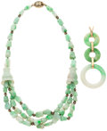 Estate Jewelry:Lots, Lot of Jadeite, Gold, Silver-Gilt Jewelry. ... (Total: 2 Items)