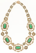 Estate Jewelry:Necklaces, Jadeite, Gilt Silver, Gold Necklace. ...