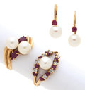 Estate Jewelry:Suites, Group of Cultured Pearl, Ruby, Diamond, Gold Jewelry. ... (Total: 3Items)