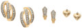Estate Jewelry:Earrings, Three Pairs of Diamond, Gold Earrings. ... (Total: 3 Items)