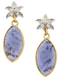 Estate Jewelry:Earrings, Iolite, Diamond, Gold Earrings. ...