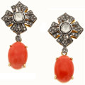 Estate Jewelry:Earrings, Coral, Diamond, Silver-Topped Gold Earrings. ...