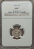 Three Cent Nickels: , 1876 3CN MS63 NGC. NGC Census: (17/53). PCGS Population (24/90). Mintage: 160,800. Numismedia Wsl. Price for problem free N...