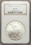 Modern Issues, 2005-P $1 Marine Corps MS70 NGC. NGC Census: (6478). PCGS Population (1013). Numismedia Wsl. Price for problem free NGC/PC...