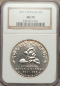 Modern Issues: , 1997-P $1 Botanic Gardens Silver Dollar MS70 NGC. NGC Census: (220). PCGS Population (132). Mintage: 58,505. Numismedia Wsl...
