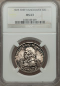 Commemorative Silver, 1925 50C Vancouver MS63 NGC. NGC Census: (284/1698). PCGSPopulation (706/2043). Mintage: 14,994. Numismedia Wsl. Pricefor...