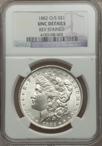 1882-O/S $1 -- Rev Stained -- NGC Details. UNC. NGC Census: (116/1184). PCGS Population (101/1540). Mintage: 1,039. Numi...