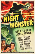 "Movie Posters:Horror, Night Monster (Universal, 1942). One Sheet (27"" X 41"").. ..."