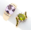 Estate Jewelry:Rings, Amethyst, Peridot, Diamond, Gold Rings. ... (Total: 2 Items)