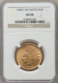 Indian Eagles: , 1908-D $10 No Motto AU58 NGC. NGC Census: (304/440). PCGS Population (235/420). Mintage: 210,000. Numismedia Wsl. Price for...